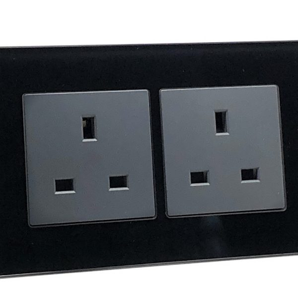 Illucio Black 2 Gang 13a Decorative Glass Double Unswitched Plug