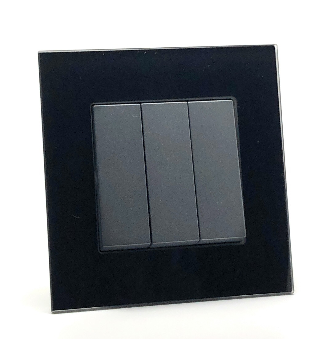 Illucio 3 Gang 1 or 2 Way 10 Amp On/Off Rocker Light Switch Black