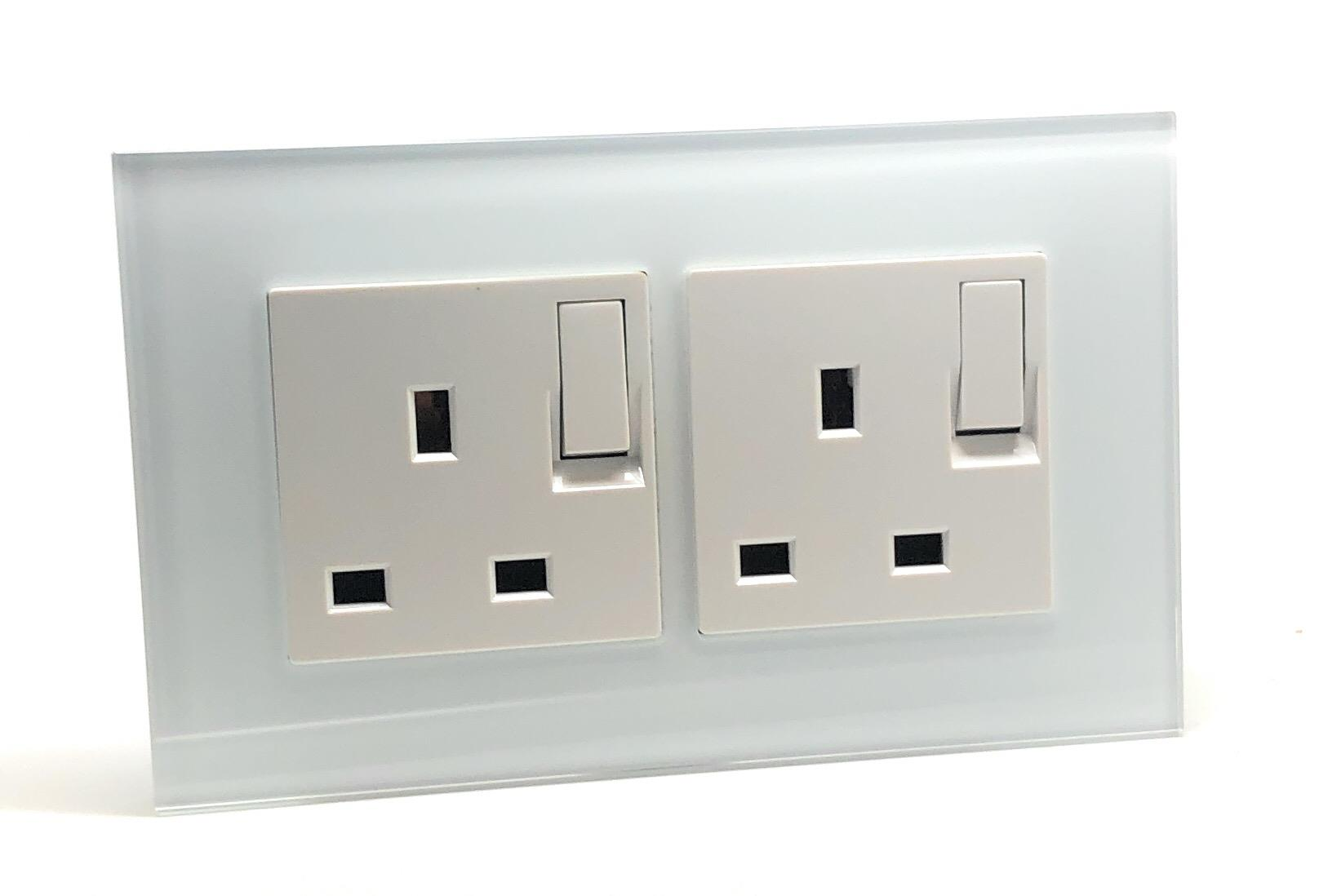 Illucio Black 2 Gang 13A Decorative Glass Double Plug Socket with White Inserts